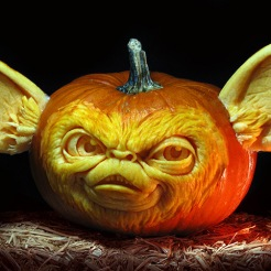 A character carved out of a pumpkin