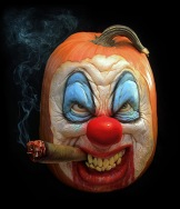 A clown face carved out of a pumpkin
