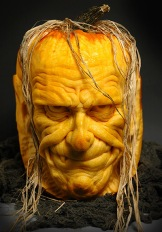 A horror face carved out of a pumpkin