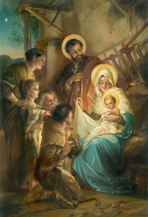 HOLY FAMILY in manger boy w lamb