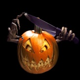 A horror charcter carved out of a pumpkin